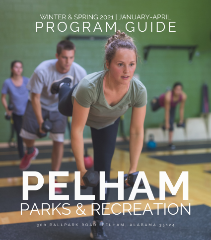 cover of parks and rec program guide that shows a woman working out with dumbbells