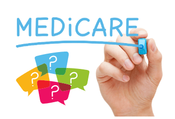 Image of a hand writing the word medicare with question marks below