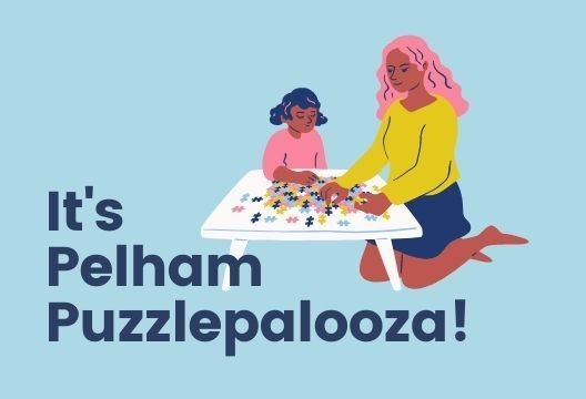 woman and child putting together a puzzle with blue background